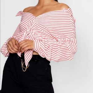 Striped Button Down Ruched Sleeve Shirt size 6
